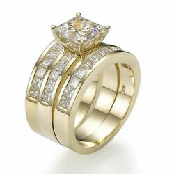 Diamond 2 Bands Set Ring Princess Earth Mined Solid 14k Yellow Gold 3.15 Ct