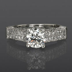 Accented 14k White Gold Anniversary Diamond Round Ring Vs1 D 2 1/4 Ct Flawless