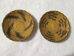 Antique Pima Papago Native American Indian Coiled Basket Bowls