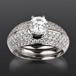 Vvs1 Diamond Matching Bands Set Ring 18k White Gold Authentic 2 1/4 Ct 6 Prong