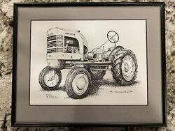 John Deere La Tractor Pen And Ink Picture By B Facklam 8 X 10