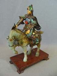 Antique Chinese Export Silver Filigree And Enamel Warrior On Carved Jade Horse