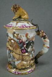 Ginori Capodimonte Hand Painted Soldiers Lions Horses Lion Finial Tankard Stein