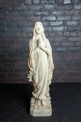 Virgin Blessed Mother Mary Madonna White Marble Carved European Statue - Large
