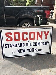 Original 1931 Socony Is Standard Oil Of Ny Porcelain Gas Oil Advertising Sign