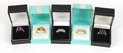 Five Silver Rings Set With Semi Precious Stones In Gift Boxes 25.0g Job Lot