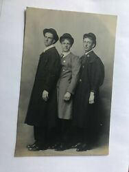 Three Young Men Dressed In Coats And Bowler Hats Real Photo Postcard Rppc