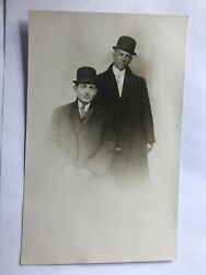 Two Men In Coats And Bowler Hats Real Photo Postcard Rppc
