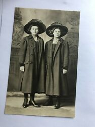 Two Young Ladies In Coats And Big Fancy Hats Real Photo Postcard Rppc