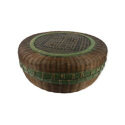 Antique Vintage Chinese Sewing Basket Large Round Lidded Boho Wicker Jungalow