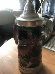 Vintage German Pewter Lidded Beer Stein Made In Germany 10 Inches Tall