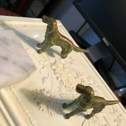 Brass or Cast Iron 19th Cen Antique Miniature Dogs Imbued with Patina