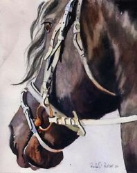 Giclée On Canvas Watercolor Painting Friesian Horse Art Large Big Huge Wall