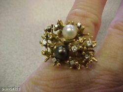 Black And White Pearl And Diamond Estate Ring14k Make Offer