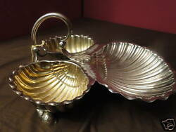 Large Victorian Three Shell Dish Silver Plated Circa 1875 English Antique