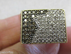 Must See Mens 14k Gold Brown And White Diamond Ring 10 Make Offer