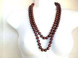 Vintage Heavy Brown Thermoset Lucite Beaded Extra Long Necklace 61in 127.gr
