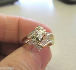 Gorgeous Marquis And Baguette Diamond Ring Size 7  New