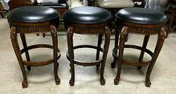 3 Frontgate Emilia Wood Backless Bar Chairs Distressed Barstools Leather Black