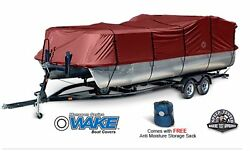 Wake Monsoon Premium Pontoon Boat Cover Fits 21-24 Ft Red