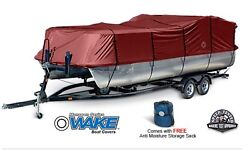 Wake Monsoon Premium Pontoon Boat Cover Fits 25-28 Ft Red