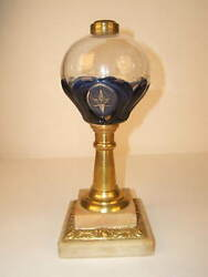 Rare 1860's Atterbury Patented 'tulip And Star' Cobalt-cut-to-clear Fluid Lamp