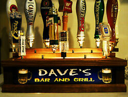 Personalized Bar And Grill Beer Tap Handle Display / W Built In Lighted Bar Sign