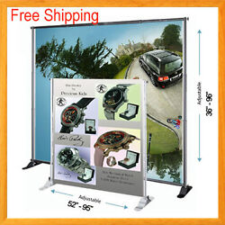 8and039 Telescopic Banner Stand Adjustable Backdrop Wall Exhibitor Expanding Display