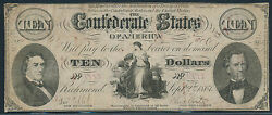 Csa-t25 10.00 Confederate Currency Sept 21861 Wl410