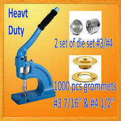 Hand Press Heavy Duty Grommet Machine Hole Punch 1000 Grommets 3 And 4 Die