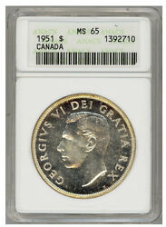 1951 S1 Canadian Silver Dollar Coin - Graded Ms65 By Anacs