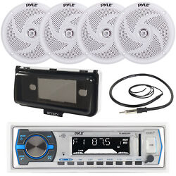 Pyle Plmr14bw Yacht Boat Usb Receiver, 4x 4 Waterproof Speakers, Antenna, Cover