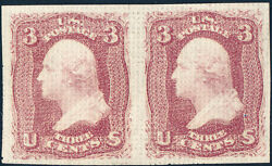 #79-E15 ROSE PAIR ALL OVER GRILLED IMPERF PAIR GUMMED VF-XF WL992