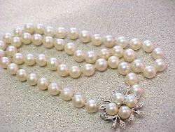 8 Mm Saltwater Pearl Necklace 19 Inch 14k Wg Diamond Clasp Make Offer