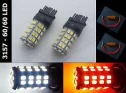 2 x 3157 4114 3357 4157 White Amber Switch Back 120 led + Load Resistors type 2