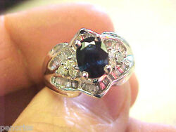 Beautiful Blue Sapphire And Diamond Ring 14k White Gold Size 7  Make Offer