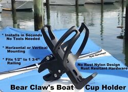 Fishing Sport Boat Cup Bottle Drink Holder Easy On - Off Grab Hand Rail Clamp