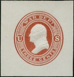 Uo20 Xf+ Unused Cut Square 3andcent Dk Red On White Washington War Dept Cv 75 Bp8601