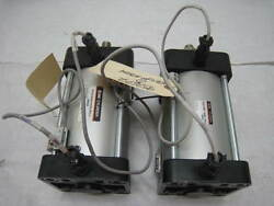 Lot Of 2 Smc Ncda1b400-0400n-a53l3 Pneumatic Cylinder With 2 Position Sensors