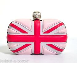 ALEXANDER McQUEEN UNION JACK PINK LEATHER BRITANNIA SKULL BOX CLUTCH BAG BNWT