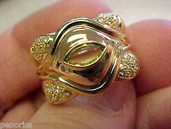 Spectacular 18k Gold And Diamond And Cab Peridot Ring Size 7-1/2 Make Offer