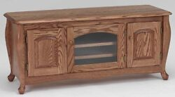 1078 Solid Wood Oak Queen Anne Tv Stand