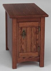 911 Solid Oak Storage Mission Lamp Table