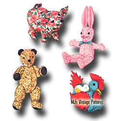 Vintage Stuffed Bear Pig Bunny and Chicken Pattern