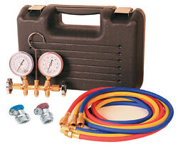 Professional Grade Brass R134A AC Manifold Gauge Set With Case Complete Kit AC