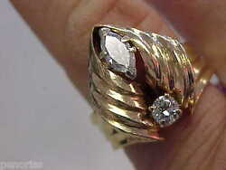 Beautiful Estate 14k Gold Marquise And Round Diamond Ring Size 7 Make Offer