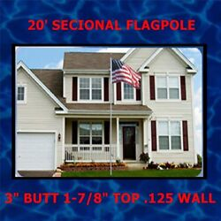 20 Ft Sectional Aluminum Flagpole Strong 1/8 Thick Wall Ups Shippable