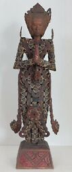 A Large Balinese Dewi Sri Statue Made Of Chinese Coins And Fine Wood Carvings