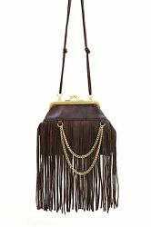New Chic Genuine Leather Fringe Cross body Clutch Purse SALE Clearance 3666190 $10.95