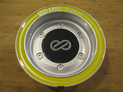Enkei Racing Cdr-9 Rs6 Rs5 Silver / Yellow Ring Snap In Center Cap Cc-074